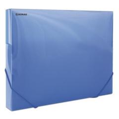 Desky s gumičkou Propyglass, transparentní modrá, PP, 30 mm, A4, DONAU