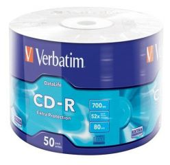 CD-R 700MB, 80min., 52x, DL Extra Protection, Verbatim, 50ks ve fólii ,balení 50 ks