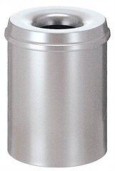 Odpadkový koš, samozhášecí, kovový, kulatý, VEPA BINS, stříbrný