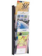 Držák na katalogy, černý, nástěnný, A5, 5 oddílů, ALBA