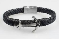 Náramek, pletená kůže, magnetické zapínání, stříbrná kotva, 22,5 cm