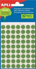 Etikety, zelené, kruhové, průměr 10 mm, 315 etiket/balení, APLI ,balení 5 ks