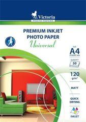 Fotografický papír Universal, do inkoustové tiskárny, matný, A4, 120g, VICTORIA ,balení 50 ks