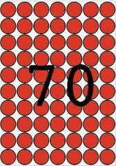 Etikety, kruhové, červená, průměr 19mm, 560 ks/bal., A5, APLI ,balení 8 ks