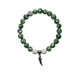 Náramek, howlit zelený s křídlem anděla, 8 mm, ART CRYSTELA