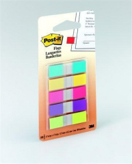 Samolepicí záložky, mix neonových barev, 12x43 mm, 5x20 listů, 3M POSTIT ,balení 100 ks