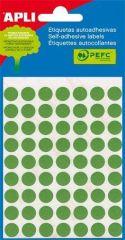 Etikety, zelené, kruhové, průměr 8 mm, 288 etiket/balení, APLI ,balení 3 ks