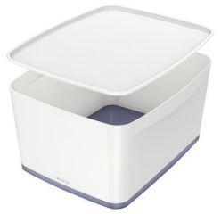 Úložný box s víkem MyBox, bílo-šedá, velký, LEITZ