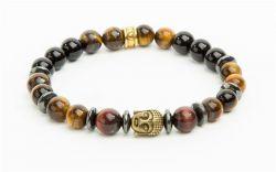 Náramek, tygří oko, červené tygří oko, hematit se zlatou ozdobou Budhy, 8 mm, ART CRYSTELA