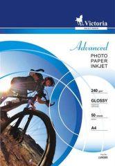 Fotografický papír Advanced, do inkoustové tiskárny, lesklý, A4, 240g, VICTORIA ,balení 50 ks
