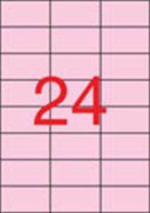 Etiketa, 70 x 37mm, pastelová růžová, 480 ks/bal., APLI ,balení 20 ks