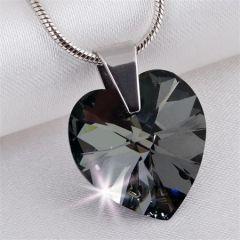 Náhrdelník, SWAROVSKI® Crystals, černý krystal, tvar srdce, ART CRYSTELLA