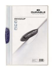 Desky s rychlovazačem Swingclip® 30, tmavě modrá, s klipem, A4, PP, DURABLE