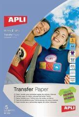 Nažehlovací fólie, pro inkoustové tiskárny, na tmavá a barevná trička, APLI ,balení 5 ks