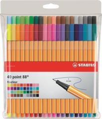 Linery Point 88, sada, 40 různých barev, 0,4 mm, STABILO