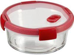 Dóza na potraviny Smart Cook, červená, 0,6 l, kulatá, skleněná, CURVER