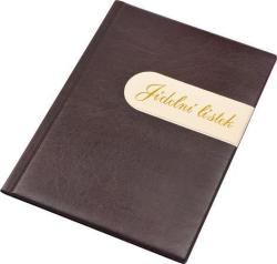 Desky na jídelní lístek Modern - CZ, hnědá-béžová, koženka, A4, PANTA PLAST