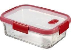 Dóza na potraviny Smart Cook, červená, 0,9 l, hranatá, skleněná, CURVER