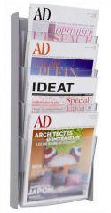 Držák na katalogy, stříbrný, nástěnný, A4, 4 oddíly, ALBA
