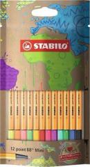 Linery Point 88 mini my design, 12 různých barev, 0,4 mm, STABILO