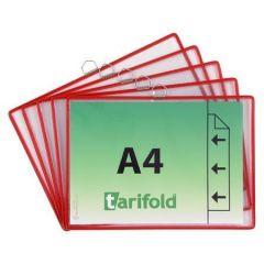 Závěsná prezentační kapsa, červená, A4, kovový rámeček, horizontální, TARIFOLD  ,balení 5 ks