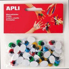 Samolepící oči, mix barev, APLI Creative ,balení 40 ks