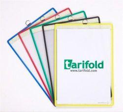 Závěsná prezentační kapsa, žlutá, A4, kovový rámeček s okem na zavěšení, TARIFOLD ,balení 5 ks