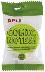 Samolepicí bloček Comic notes, tvar bubliny, 200 listů, APLI ,balení 200 ks