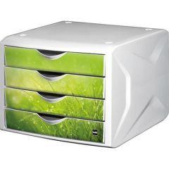 Zásuvkový box Chameleon, 4 zásuvky, bílo-zelená, plast, HELIT