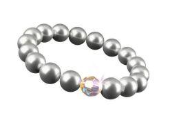 Náramek SWAROVSKI®, stříbrná, perla, velikost M, 10 mm, ART CRYSTELLA®