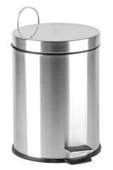 Odpadkový koš, pedálový, kovový, 5 l, pochromovaný