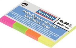 Samolepicí záložky, 4x50 lístků, 20x50 mm, DONAU, mix barev ,balení 200 ks