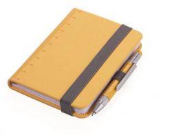 Poznámkový blok LILIPAD + LILIPUT, žlutá, A7, s pravítkem, 128 listů, pevný, s kuličkovým perem, T