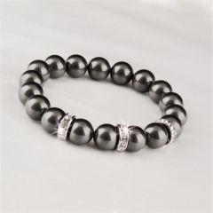 Náramek SWAROVSKI® Crystals, černá, kroužky s křišťálem, M, ART CRYSTELA