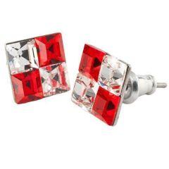 Náušnice SWAROVSKI®, červeno-bílá, křišťál, hranaté, 8 mm, ART CRYSTELLA®