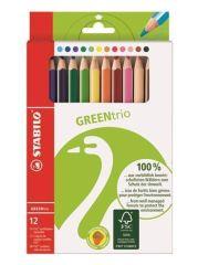 stabilo  Pastelky Green Trio, 12 různých barev, sada, trojúhelníkový tvar, silné, STABILO