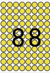 Etikety, kruhové, žlutá, průměr 16mm, 704 ks/bal., A5, APLI ,balení 8 ks