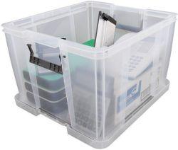 Box, plastový, s víkem, 48 l, průhledný, ALLSTORE