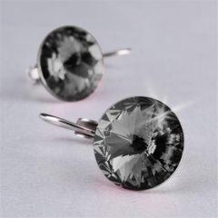 Náušnice, závěsné, MADE WITH SWAROVSKI ELEMENTS, černý diamant, 12 mm, ART CRYSTELLA