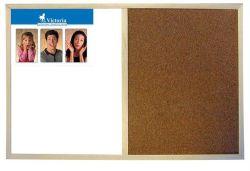 Kombinovaná tabule, kombinace korkové a bílé tabule, 40x60cm, dřevěný rám, VICTORIA