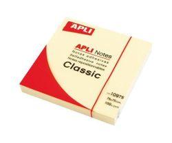 Samolepící bloček, 75x75 mm, 100 lístků, APLI, žlutý ,balení 100 ks