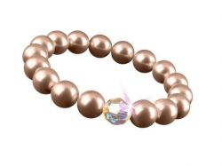 Náramek SWAROVSKI®, zlatá, perla, velikost M, 10 mm, ART CRYSTELLA®