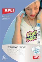 Nažehlovací fólie, pro inkoustové tiskárny, na bílá trička, APLI ,balení 10 ks