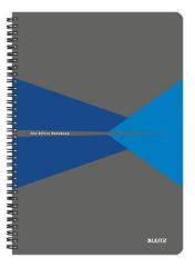 Blok Office, šedo-modrá, drátěná kroužková vazba, A4, čtverečkovaný, 90 listů, plastový povrch, LE