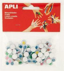 Samolepící oči, kulaté, mix barev, APLI Creative ,balení 100 ks