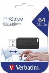 USB flash disk PinStripe, černá, 64GB, USB 2.0, 10/4MB/sec, VERBATIM
