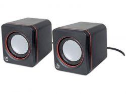 Reproduktory 2600, černá, stereo, malé, USB, MANHATTAN
