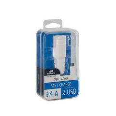 Nabíječka do auta VA 4223 WD1, bílá, 2 x USB, 3,4A, datový kabel micro USB, RIVACASE