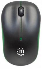 Myš, bezdrátová, optická, střední vel., MANHATTAN Succes, černá-zelená