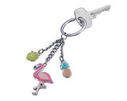 Klíčenka, přívěsek Flamingo, plameňák, 3 přívěšky, TROIKA